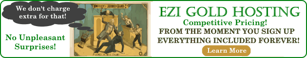 Fundamentals of What is a Web Host are addressed in this EZi Gold Hosting banner ad.